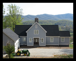A simple traditionsl design for a new home with a vineyard in Nelson County, Virginia, designed by designed by Candace Smith, AIA