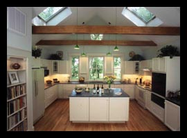 New kitchen with skylights for renovated farm house in Charlottesville, Virginia, designed by Candace Smith Architect