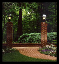 New garden piers, gates, custom lantern and brick walkway designed by architect Candace Smith, AIA, for historic home in Albemarle County, Virginia