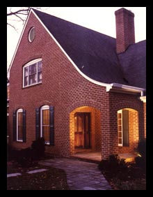 Traditional addition and front porch to a renovated home in Northern Virginia, designed by architect Candace Smith, AIA
