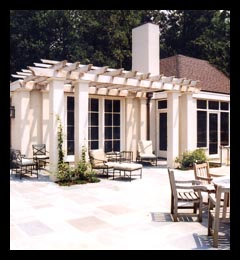 New pergola, terrace and kitchen wing addition designed by architect Candace Smith, AIA, for residence in Albemarle County, Virginia