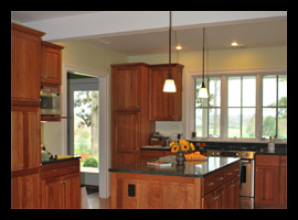 Renovated kitchen with custom cabinetry for farmhouse in Albemarle County, Virginia, designed by Candace Smith, AIA