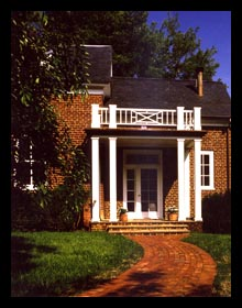 New entry porch and brick walkway designed for addition to historic home in Albemarle County, Virginia, by Candace Smith Architect, PC