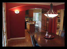 New dinning room, arched doorways and kitchen designed for renovations to Virginia home by Candace Smith Architect